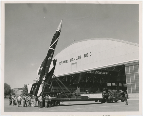"""Salt Lake Tribune file photo  The original caption on this 1959 photo says: """"The BOMARC missile, shown on display at Hill AFB, is another weapon for which the Ogden Air Material Area has AF logistic support. Other missiles in OOMA's arsenal are the GAM-87, a guided air-launched missile: Minuteman, Snark, and Genie air-to-air rocket."""