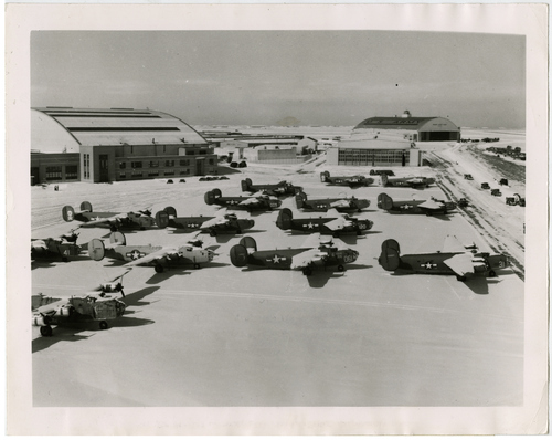 """Salt Lake Tribune file photo  The original caption on this 1944 photo says: """"Though desperately needed overseas, these erstwhile giants of the sky -- B-24 Liberator four-engined bombers-- sit impotent and useless at Hill Field headquarters of the Ogden Air Service Command because sufficient civilian workers cannot be found to get them back into the air. They are a few of more than 50 such craft impatiantly awaiting overhaul by the """"Keep 'Em Flying"""" services."""""""