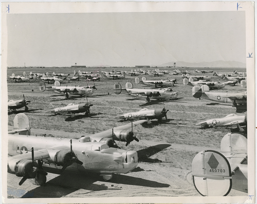 Salt Lake Tribune file photo  Bombers and fighters fill an empty field at Hill Air Force Base, then called Hill Field,  in 1945.