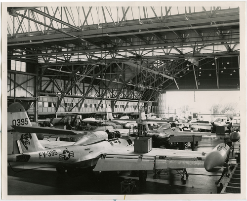 """Salt Lake Tribune file photo  The original caption on this 1959 photo says: """"F-89 Scorpion interceptors fill a good portion of the block-long aircraft repair hangars at Hill AFB where they are modified and repaired. The Ogden Air Material Area has world-wide logistic support for F-89's."""""""