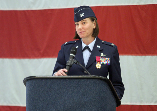 Rick Egan  | The Salt Lake Tribune   Col. Sarah E. Zabel says a few words of thanks during the change-of-command ceremony at Hill Air Force Base on Friday. Col. Kathryn L. Kolbe  assumed command of the 75th Air Base Wing from Zabel.