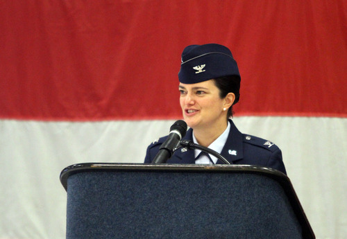 Rick Egan  | The Salt Lake Tribune   Col. Kathryn L. Kolbe speaks to the 75th Air Base Wing during the change-of-command ceremony at Hill Air Force Base, Friday, January 11, 2013. Kolbe assumed command of the 75th Air Base Wing from Col. Sarah E. Zabel.