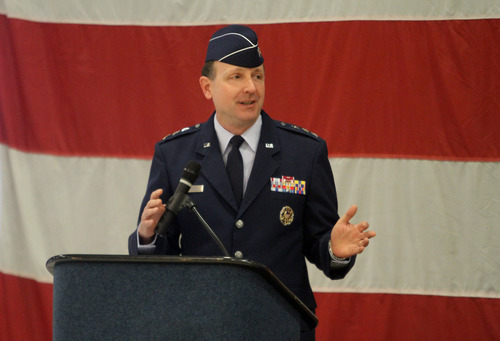 Rick Egan  | The Salt Lake Tribune   Lt. Gen. Bruce A. Litchfield, commander of the Air Force Sustainment Center (AFSC), speaks during a change-of-command ceremony at Hill Air Force Base on Friday. Col. Kathryn L. Kolbe   assumed command of the 75th Air Base Wing from Col. Sarah E. Zabel.