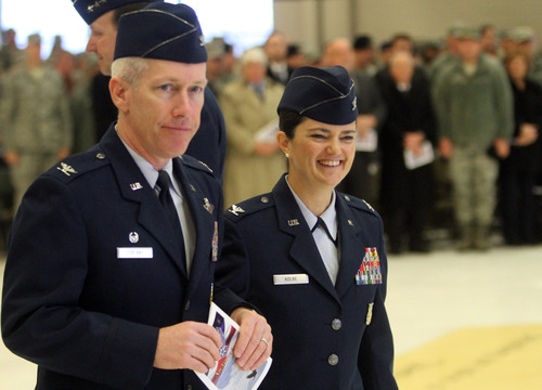Rick Egan  | The Salt Lake Tribune   Col. Rick LeBlanc (left) with his wife, Col. Kathryn L. Kolbe, after the change-of-command ceremony at Hill Air Force Base, Friday, January 11, 2013. Kolbe assumed command of the 75th Air Base Wing from Col. Sarah E. Zabel.