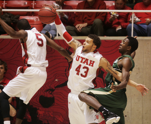 Kim Raff  |  The Salt Lake Tribune University of Utah player (middle) Cedric Martin grabs a rebound over and Sacramento State player John Dickson during a men's basketball game at the Huntsman Center in Salt Lake City on November 16, 2012. They went on to lose the game 71-74.