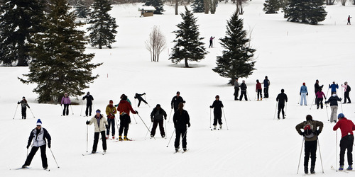 Chris Detrick  |  Tribune file photo  People learn how to cross-country ski during Winter Trails Day at Mountain Dell Cross Country Ski Area in January 2011. This year's Winter Trails Day, marked by free cross-country skiing lessons and more at various sites is Saturday, though Mountain Dell is not hosting an event this year.