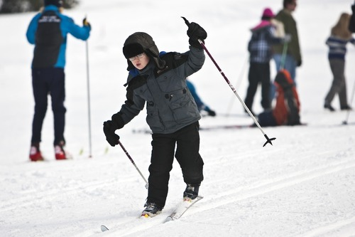 Chris Detrick  |  Tribune file photo  Nathan House, of West Valley City, learns how to cross country ski during Winter Trails Day at Mountain Dell Cross Country Ski Area in January 2011. This year's Winter Trails Day, marked by free cross-country skiing lessons and more at various sites is Saturday, though Mountain Dell is not hosting an event this year.