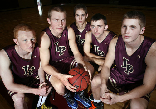 Scott Sommerdorf  |  The Salt Lake Tribune               The Lone Peak starting five, left to right:  TJ Haws, Eric Mika, Connor Toolson, Nick Emery, and Talon Shumway, at Lone Peak High in Highland, Thursday December 13, 2012.