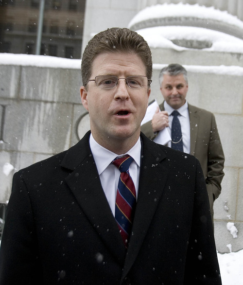 Paul Fraughton  |   The Salt Lake Tribune  U.S. Attorney David Barlow speaks outside the federal courthouse in Salt Lake City on Friday to the news media about the case against St. George businessman Jeremy Johnson.