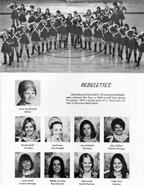 This page from the 1970 edition of The Confederate, Dixie State College's yearbook, shows the school's drill team, the Rebelettes.