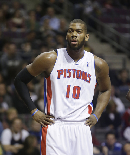 Detroit Pistons center Greg Monroe (10) is seen during the first quarter of an NBA basketball game against the Utah Jazz at the Palace of Auburn Hills, Mich., Saturday, Jan. 12, 2013. (AP Photo/Carlos Osorio)