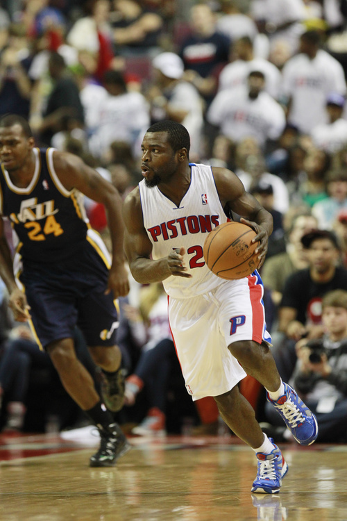Detroit Pistons guard Will Bynum (12) is seen during the second quarter of an NBA basketball game against the Utah Jazz at the Palace of Auburn Hills, Mich., Saturday, Jan. 12, 2013. (AP Photo/Carlos Osorio)