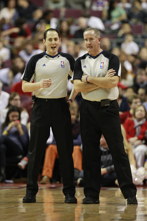 Referee Marat Kogut, left, and Scott Wall are seen during the second quarter of an NBA basketball game between the Detroit Pistons and the Utah Jazz at the Palace of Auburn Hills, Mich., Saturday, Jan. 12, 2013. (AP Photo/Carlos Osorio)