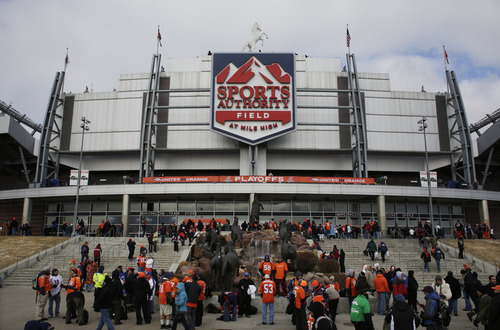 Sports Authority Field at Mile High Stadium is seen before an AFC divisional playoff NFL football game between the Baltimore Ravens and Denver Broncos, Saturday, Jan. 12, 2013, in Denver. (AP Photo/Joe Mahoney)