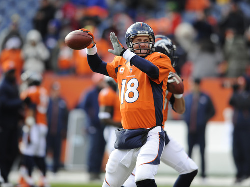 Denver Broncos quarterback Peyton Manning warms up before playing the Baltimore Ravens in an AFC divisional playoff NFL football game, Saturday, Jan. 12, 2013, in Denver. (AP Photo/Jack Dempsey)