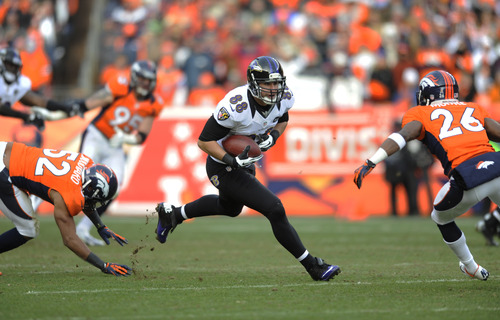 Baltimore Ravens tight end Dennis Pitta (88) runs the ball against the Denver Broncos in the second quarter of an AFC divisional playoff NFL football game, Saturday, Jan. 12, 2013, in Denver. (AP Photo/Jack Dempsey)