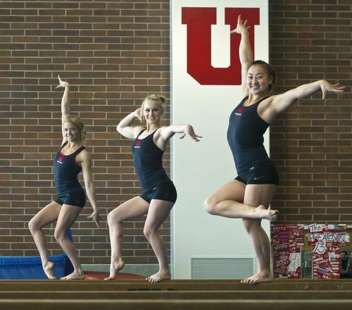 Chris Detrick  |  The Salt Lake Tribune Utah gymnasts Hailee Hansen, Georgia Dabritz and Corrie Lothrop pose for a portrait Tuesday January 8, 2013.