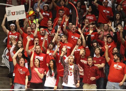 Rick Egan    The Salt Lake Tribune   Utah Ute fans cheer on their team, in basketball action Utah vs. USC, at  the Huntsman Center, Saturday, January 12, 2013.