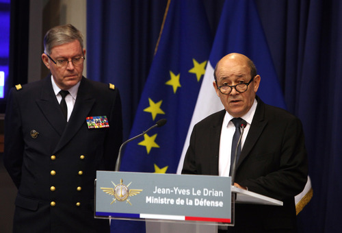 Franch Defense Minister Jean-Yves Le Drian, right, speaks as French Army Chief of Staff Adm. Edouard Guillaud stands during a press conference, in Paris, Saturday, Jan. 12, 2013. Le Drian said hundreds of French troops are involved in an operation that destroyed a command center of Islamic rebels in Mali. (AP Photo/Thibault Camus)