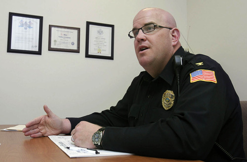 Montpelier, Ohio police chief Jeff Lehman about guns in Montpelier schools, Friday, Jan. 11, 2013 in Montpelier, Ohio. The school in the state's northwest corner says four of its employees will begin carrying handguns later this year after completing a training course. (AP Photo/The Blade, Lori King)  MANDATORY CREDIT; MAGS OUT; NO SALES; TV OUT; SENTINEL-TRIBUNE OUT; MONROE EVENING NEWS OUT; TOLEDO FREE PRESS OUT