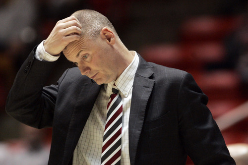 Kim Raff | The Salt Lake Tribune University of Utah head coach Anthony Levrets reacts to Colorado's widening lead in the second half during a game at the Huntsman Center in Salt Lake City on January 13, 2013.