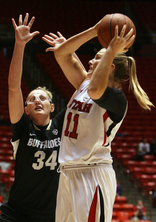 Kim Raff | The Salt Lake Tribune University of Utah player (right) Taryn Wicijowski shoots the ball as Colorado player Jen Reese defends during a game at the Huntsman Center in Salt Lake City on January 13, 2013. Utah lost the game 43-56.