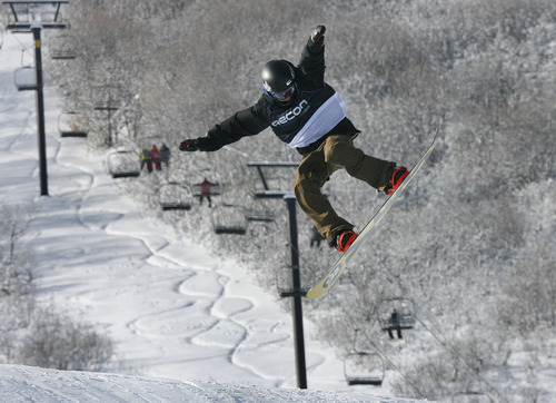 Scott Sommerdorf   |  The Salt Lake Tribune Jack Herald, from Tooele, Utah, jumps during the Open Division of the Recon Tour Snowboard competition at Park City Mountain Resort, Sunday, January 13, 2013.