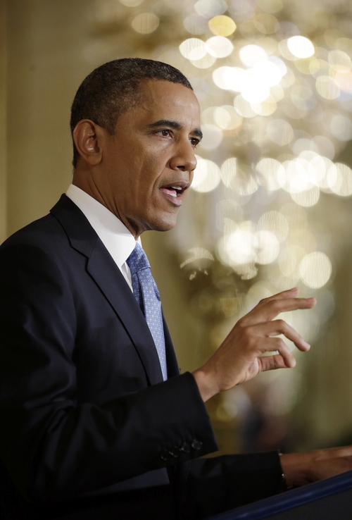 President Barack Obama speaks about the debt limit during the final news conference of his first term in the East Room of the White House in Washington, Monday, Jan. 14, 2013.  (AP Photo/Pablo Martinez Monsivais)