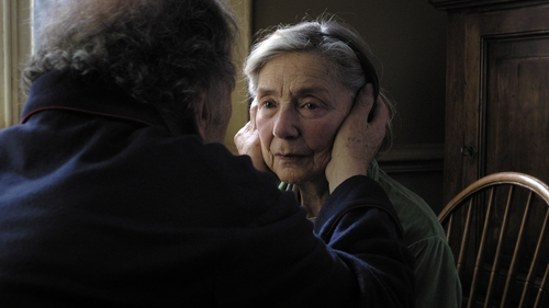 """This image released by Sony Pictures Classics shows Emmanuelle Riva in a scene from """"Amour."""" Riva was nominated  for an Academy Award for best actress on Thursday, Jan. 10, 2013, for her role in """"Amour .""""  The 85th Academy Awards will air live on Sunday, Feb. 24, 2013 on ABC. (AP Photo/Sony Pictures Classics)"""