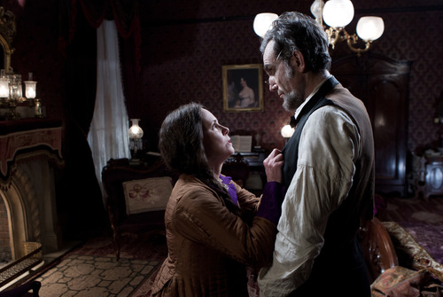 """This image released by DreamWorks II Distribution Co., LLC and Twentieth Century Fox Film Corporation shows Sally Field and Daniel Day-Lewis appear in a scene from """"Lincoln.""""   Fields was nominated for an Academy Award for best supporting actress and Lewis was nominated for best actor on Thursday, Jan. 10, 2013, for their roles in """"Lincoln.""""  The 85th Academy Awards will air live on Sunday, Feb. 24, 2013 on ABC (AP Photo/DreamWorks II Distribution Co., LLC and Twentieth Century Fox Film Corporation, David James)"""