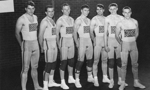 This photo from the 1966 edition of The Confederate, Dixie State College's yearbook, shows the school's wrestling team.