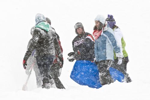 Chris Detrick  |  The Salt Lake Tribune People sled down a hill at Sugar House Park Friday January 11, 2013.