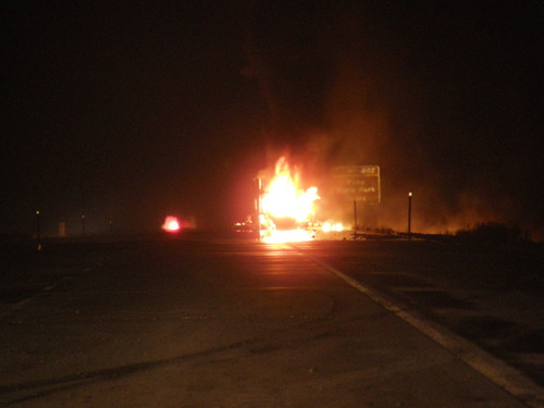 Courtesy of UHP Gasoline tanker fire in Juab County temporarily shutdown I-15 Sunday night.