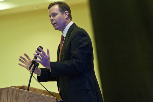 "Chris Detrick  |  The Salt Lake Tribune Utah Attorney General John Swallow speaks on ""The Importance of Federalism Under Our Constitution"" during the Utah Eagle Forum annual convention at the Salt Lake Radisson Hotel Saturday January 12, 2013."