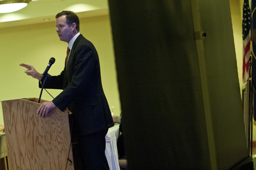 Chris Detrick  |  The Salt Lake Tribune Utah Attorney General John Swallow speaks on the topic of 'The Importance of Federalism Under Our Constitution' during the Utah Eagle Forum annual convention at the Salt Lake Radisson Hotel Saturday January 12, 2013.