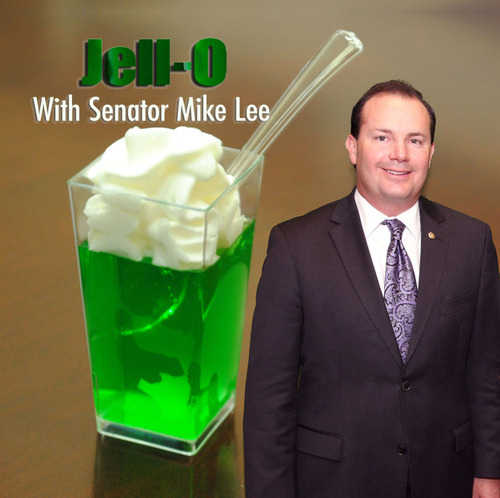 "Sen. Mike Lee hosts a regular weekly ""Jell-O with the Senator"" event for tourists. He says he hopes offering the favorite treat for visitors will make his constituents feel a bit more at home. Courtesy Mike Lee"