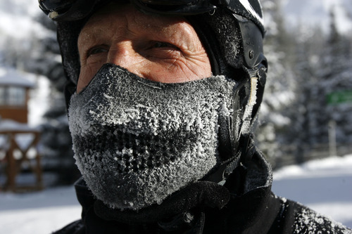 Francisco Kjolseth  |  The Salt Lake Tribune Ford Long of San Francisco gets good use out of his face guard while skiing at Snowbird on Monday, Jan. 14, 2013, where the temperature started out in the morning at zero.