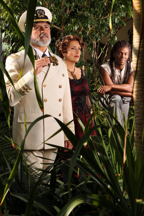 "Francisco Kjolseth  |  The Salt Lake Tribune Utah Opera's first Spanish-language opera, ""Florencia en el Amazonas,"" with Hector Vásquez (el Capitán), Cynthia Clayton (Florencia Grimaldi), and Nmon Ford (the mysterious Riolobo), from left, is about what happens when a legendary diva takes a voyage down the Amazon. Romance and magical realism ensue."