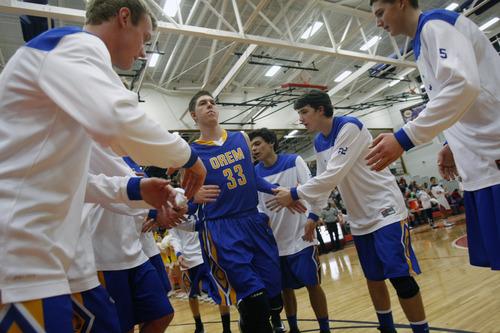 Chris Detrick     The Salt Lake Tribune Orem's Dalton Nixon (33) is introduced during the game at Springville High School Friday January 11, 2013.