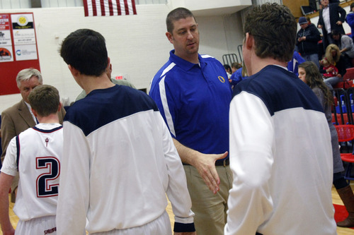 Chris Detrick     The Salt Lake Tribune Assistant coach Kevin Nixon during the game at Springville High School Friday January 11, 2013.