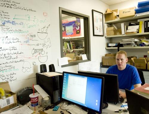 Kim Raff   The Salt Lake Tribune Erik Liddiard works at Zien Medical Technologies at BioInnovations Gateway.