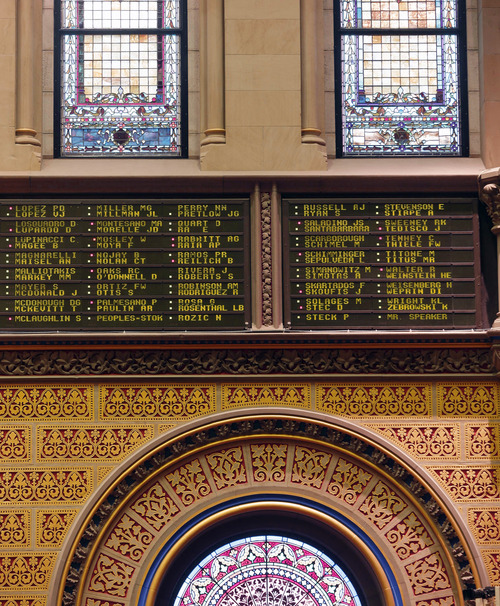 A sign lists legislators' names and how they voted on New York's Secure Ammunition and Firearms Enforcement Act in the Assembly Chamber at the Capitol on Tuesday, Jan. 15, 2013, in Albany, N.Y. The measure passed, 104-43.  New York's Assembly passed the toughest gun control law in the nation and the first since the Newtown, Conn., school shooting, calling for a tougher assault weapons ban and provisions to try to keep guns out of the hands of the mentally ill who make threats. The measure passed, 104-43. (AP Photo/Mike Groll)