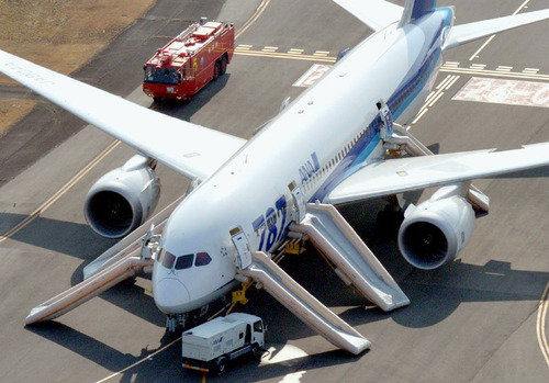 "An All Nippon Airways flight sits at Takamatsu airport in Takamatsu, western Japan after it made an emergency landing Wednesday, Jan. 16, 2013. The flight to Tokyo from Ube in western Japan landed at the airport after a cockpit message showed battery problems, in the latest trouble for the Boeing 787 ""Dreamliner."" (AP Photo/Kyodo News) JAPAN OUT, MANDATORY CREDIT, NO LICENSING IN CHINA, HONG KONG, JAPAN, SOUTH KOREA AND FRANCE"