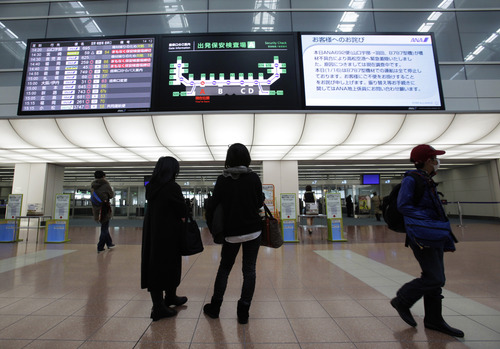 "Women stand under a signboard on which a message from All Nippon Airways, right, titled ""Apology to passengers"" telling cancellation of all ANA flights using Boeing 787 for the day after an emergency landing of its flight in the morning is on display Wednesday, Jan. 16, 2013 at Haneda Airport in Tokyo. ANA said a cockpit message showed battery problems and a burning smell were detected in the cockpit and the cabin, forcing a Boeing 787 on a domestic flight to land at Takamatsu airport in western Japan Wednesday morning. (AP Photo/Shizuo Kambayashi)"