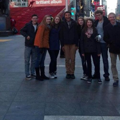 Courtesy | Rick Kimball LPA in NY: (from left to right) Dallin Dorius, Morgan Hyndman, Savannah Eccles, McKylin Rowe, Gabee Snarr, Abby Watts, Kyle Dunshee, Johnny New  - There were some down time between all of the choreography, music and acting practice. Here are our students walking around times square. While there, they saw several shows on Broadway which included Evita, The Mystery of Edwin Drood, Wicked, Grace and Peter and the Starcatcher.
