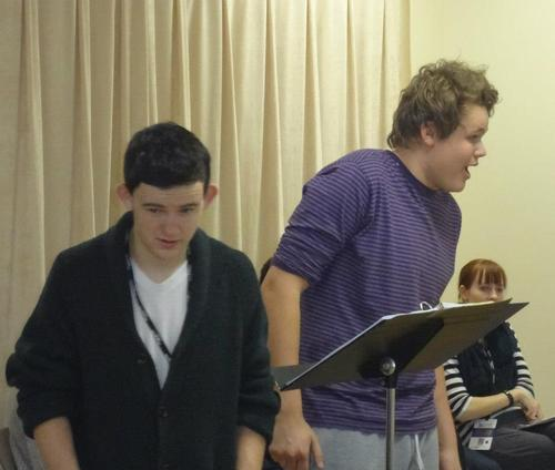 Courtesy | Rick Kimball  KYLE AND DALLIN: (from left to right) Dallin Dorius, Kyle Dunshee  - In this picture, these two student are being directed by Dave Norona for the acting portion of rehearsal. These two are rehearsing a scene they will be performing from Rocket Science on the Gershwin Stage.