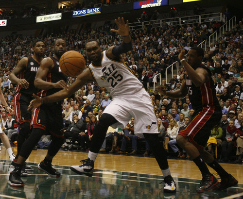Rick Egan  | The Salt Lake Tribune   Utah Jazz center Al Jefferson (25) has the ball knocked away,  in NBA action, Utah Jazz vs.The Miami Heat, Monday, January 14, 2013. The foul was ruled intentional.