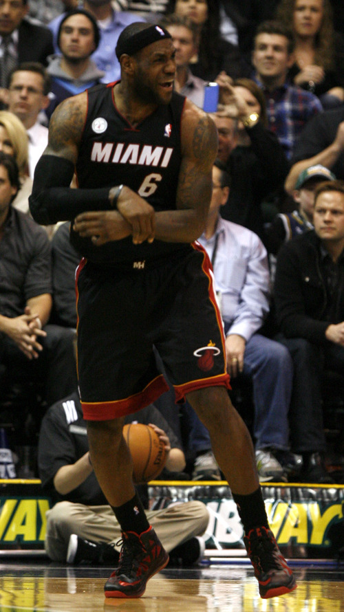 Rick Egan  | The Salt Lake Tribune   Miami Heat small forward LeBron James (6) responds after being called for a foul, in NBA action, Utah Jazz vs.The Miami Heat, Monday, January 14, 2013. The foul was ruled intentional.