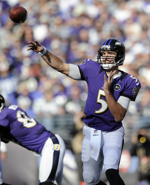 Baltimore Ravens quarterback Joe Flacco throws to a receiver in the first half of an NFL football game against the Oakland Raiders in Baltimore, Sunday, Nov. 11, 2012. (AP Photo/Nick Wass)