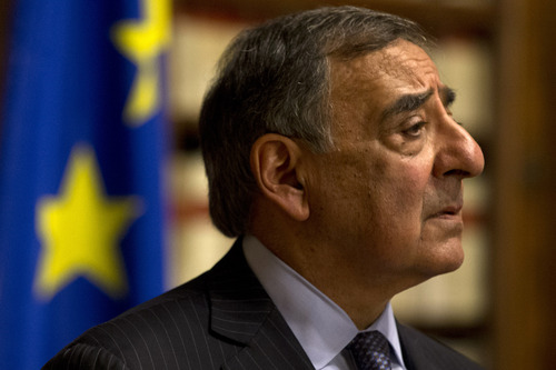 "Defense Secretary Leon Panetta pauses during a news conference in Rome, Wednesday, Jan. 16, 2013. Panetta confirmed on Wednesday that American citizens are among the hostages taken by an Al Qaeda-linked group that seized a gas field in Algeria, calling the action a ""terrorist attack,"" (AP Photo/Jacquelyn Martin)"